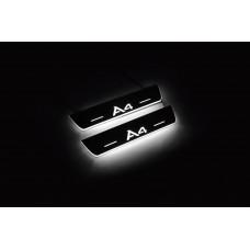Накладки на пороги з підсвіткою Audi A4 B8 2008-2015 (rear doors) з логотипом A4 - (тип Static)