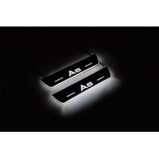 Накладки на пороги з підсвіткою Audi A6 C7 2011-2018 (rear doors) - (тип Static)