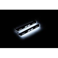 Накладки на пороги з підсвіткою BMW X5 E53 1999-2006 (rear doors) - (тип Static)