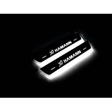 Накладки на пороги з підсвіткою BMW X6 F16 2015-2019 з логотипом HAMANN (rear doors) - (тип Static)
