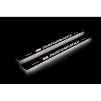 """Накладки на пороги з підсвіткою BMW X6 E71 2008-2015 з логотипом """"M Perfomance"""" (front doors) - (тип Static)"""