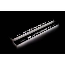 """Накладки на пороги з підсвіткою BMW X6 F16 2015-2019 з логотипом """"M Perfomance"""" (front doors) - (тип Static)"""