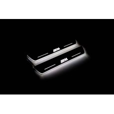"""Накладки на пороги з підсвіткою BMW X5 E70 2006-2013 з логотипом """"M Perfomance"""" (rear doors) - (тип Static)"""