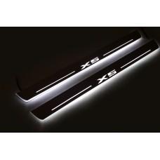 Накладки на пороги з підсвіткою BMW X5 E70 2006-2013 (front doors) - (тип Static)