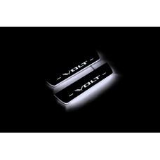 Накладки на пороги з підсвіткою Chevrolet Volt II 2016-2019 (rear doors) - (тип Static)