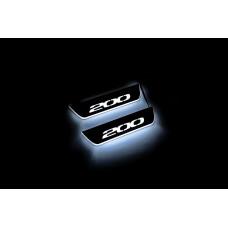 """Накладки на пороги з підсвіткою Chrysler 200 II 2015-2017 з логотипом """"200"""" (rear doors) - (тип Static)"""