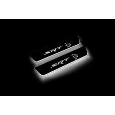 """Накладки на пороги з підсвіткою Dodge Charger 2011+ з логотипом """"SRT Hellcat"""" (rear doors) - (тип Static)"""