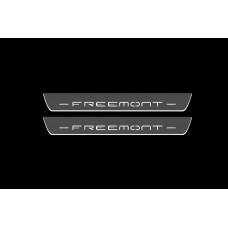 Накладки на пороги з підсвіткою Fiat Freemont 2011+ (front doors) - (тип Static)