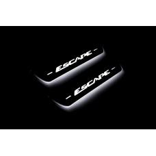 Накладки на пороги з підсвіткою Ford Escape III 2013-2019 (rear doors) - (тип Static)