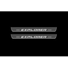 Накладки на пороги з підсвіткою Ford Explorer V 2011-2019 (front doors) - (тип Static)