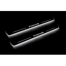 Накладки на пороги з підсвіткою Ford Focus II 2004-2011 (front doors) - (тип Static)