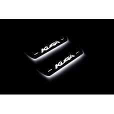 Накладки на пороги з підсвіткою Ford Kuga II 2013-2020 (rear doors) - (тип Static)