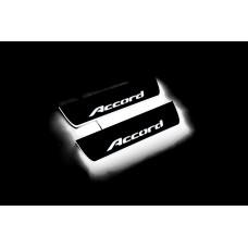 Накладки на пороги з підсвіткою Honda Accord IX 2013-2018 (rear doors) - (тип Static)