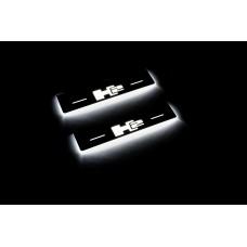 Накладки на пороги з підсвіткою Hummer H2 2002-2009 з логотипом H2 (rear doors) - (тип Static)
