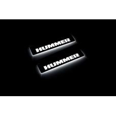 Накладки на пороги з підсвіткою Hummer H2 2002-2009 (rear doors) - (тип Static)