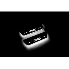 Накладки на пороги з підсвіткою Jeep Cherokee KL 2014+ з лого Jeep (rear doors) - (тип Static)