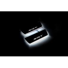 """Накладки на пороги з підсвіткою Jeep Grand Cherokee IV 2010+ з логотипом """"SRT"""" (rear doors) - (тип Static)"""