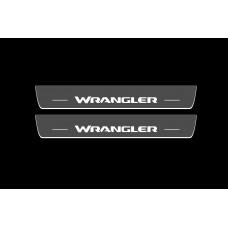Накладки на пороги з підсвіткою Jeep Wrangler JL 2018+ (front doors) - (тип Static)