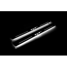 Накладки на пороги з підсвіткою KIA ProCeed III 2018+ з логотипом GT (front doors) - (тип Static)