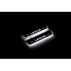 Накладки на пороги з підсвіткою Lexus NX 2014+ (rear doors) - (тип Static)