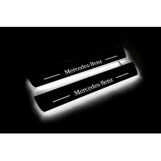 Накладки на пороги з підсвіткою Mercedes E-Class W213 2016+ (front doors) - (тип Static)