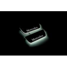 Накладки на пороги з підсвіткою Mercedes ML W164 2005-2011 (rear doors) - (тип Static)