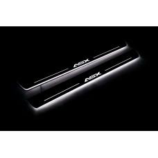 Накладки на пороги з підсвіткою Mitsubishi ASX 2010+ (front doors) - (тип Static)