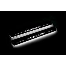 Накладки на пороги з підсвіткою Mitsubishi Lancer X 2007+ з логотипом RalliArt (front doors) - (тип Static)
