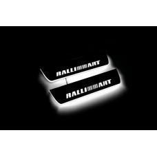 Накладки на пороги з підсвіткою Mitsubishi Lancer X 2007+ з логотипом RalliArt (rear doors) - (тип Static)