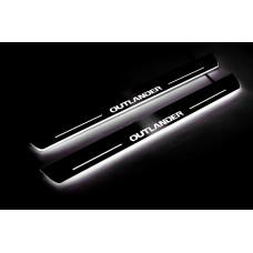 Накладки на пороги з підсвіткою Mitsubishi Outlander II 2007-2012 (front doors) - (тип Static)