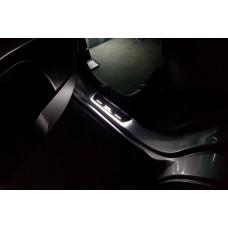 Накладки на пороги з підсвіткою Mitsubishi Outlander II 2007-2012 з логотипом XL (rear doors) - (тип Static)