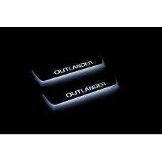 Накладки на пороги з підсвіткою Mitsubishi Outlander III 2012+ (rear doors) - (тип Static)