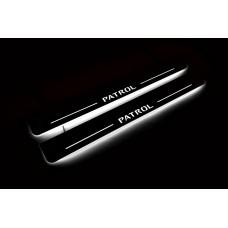 Накладки на пороги з підсвіткою Nissan Patrol Y62 2010+ (front doors) - (тип Static)