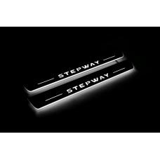 Накладки на пороги з підсвіткою Renault Sandero Stepway II 2013+ - (тип Static)