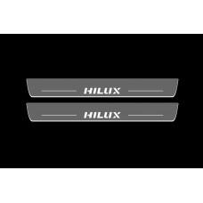 Накладки на пороги з підсвіткою Toyota Hilux VIII 2015+ (front doors) - (тип Static)