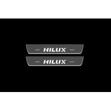Накладки на пороги з підсвіткою Toyota Hilux VIII 2015+ (rear doors) - (тип Static)
