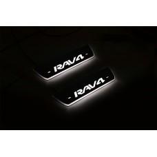 Накладки на пороги з підсвіткою Toyota Rav4 IV 2013-2018 (rear doors) - (тип Static)