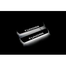 Накладки на пороги з підсвіткою Toyota Tundra III 2014+ (rear doors) (Double Cab) - (тип Static)