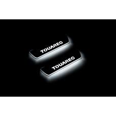 Накладки на пороги з підсвіткою Volkswagen Touareg II 2010-2018 (rear doors) - (тип Static)